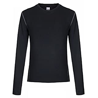 L&L® Boys Kids Children Compression Baselayer Thermal Shirt Top Long Sleeve Skins UK (Normal Neck Age 8-10, Black)