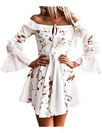 Preisvergleich für Hirolan Kleider Damen Frühling Sommer Herbst Kleider Spitze Lange Ärmel Schulterfreies Kleid Weißes Strandkleid...