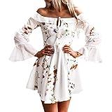Hirolan Kleider Damen Frühling Sommer Herbst Kleider Spitze Lange Ärmel Schulterfreies Kleid Weißes Strandkleid Swing Boho Casual Party Täglich Minikleid (Weiß, S)