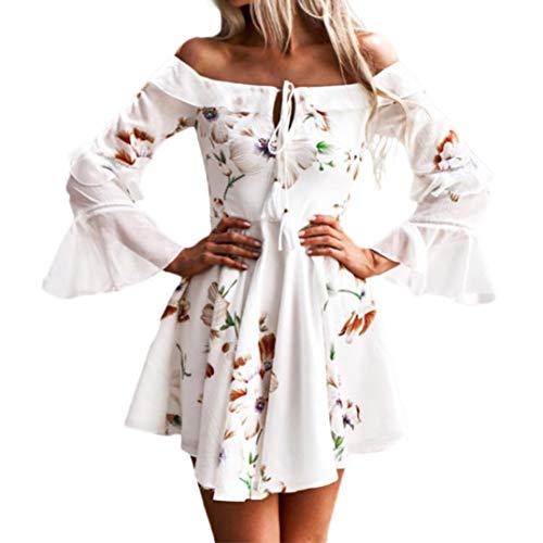 Hirolan Kleider Damen Frühling Sommer Herbst Kleider Spitze Lange Ärmel Schulterfreies Kleid Weißes Strandkleid Swing Boho Casual Party Täglich MiniKleid (Weiß, ()