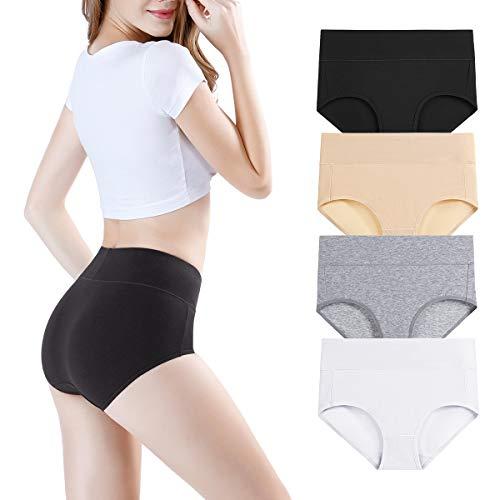 wirarpa Damen Unterhosen 4er Pack Panties Slips Damen Unterwäsche mit Hoher Taille Ultra Weich Taillenslip Große Größe XXL