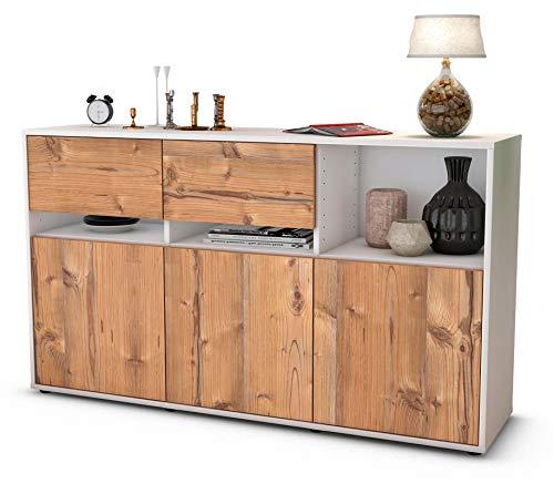 Stil.Zeit Sideboard Dorotea/Korpus anthrazit matt/Front Holz-Design Pinie (136x79x35cm) Push-to-Open Technik und hochwertigen Leichtlaufschienen