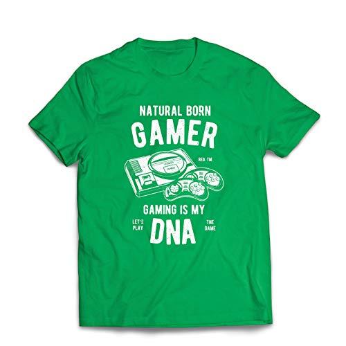 lepni.me Männer T-Shirt geborener Spieler, das Spielen ist Meine DNA, Lass Uns das Spiel Spielen (Large Grün Mehrfarben) (Valentine-video-spiel)