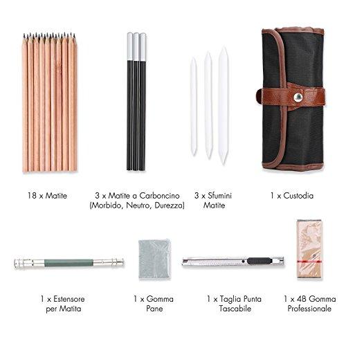 comprare on line Yosoo Kit per Schizzo e Disegno, Set Matite Gomme Matite Carboncino Penne Strumento Artistico, 29 Pezzi - Fornire a Artista Professionale e Principianti prezzo