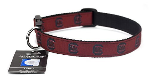 All Star Dogs South Carolina Gamecocks Hundehalsband, Med 1in w - Fits 12in-20in, rot -