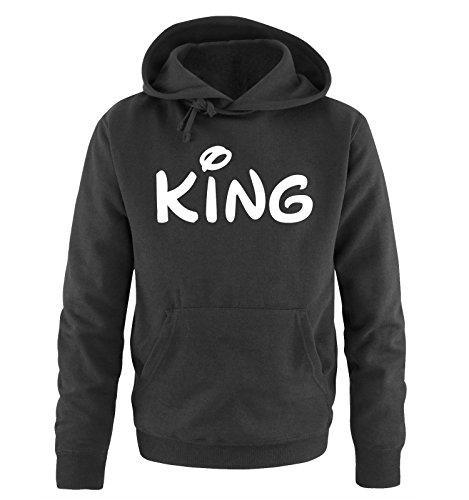 Comedy Shirts - KING - Comic - Herren Hoodie - Schwarz / Weiss Gr. XL