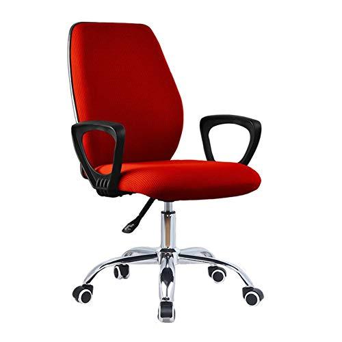 WYYY Bürostuhl Bürodrehstuhl, Ergonomisch Lordosenstütze Verstellbare Höhe Drehbarer Schreibtischstuhl 3 Farben Durable stark (Color : Red)