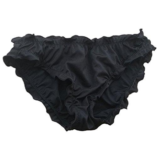 Victoria Damen malinsa rüschen wellig bikini bottom low rise hipster allure badeanzug Schwarz Large -