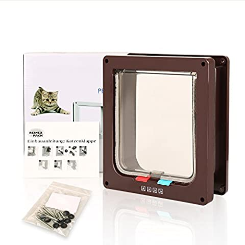 BIGWING Style Pet Flap Lockable 4 Way Locking Cat Door-Brown