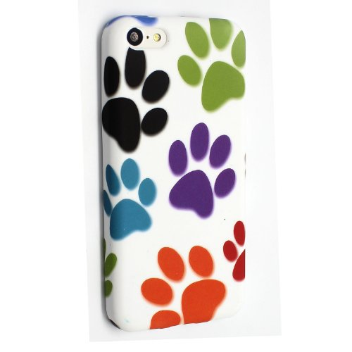 APPLE IPHONE 5C BLACK DOTS SILICONE SILIKON CASE SKIN GEL TPU TASCHE Hülle COVER + STYLUS BY GSDSTYLEYOURMOBILE {TM} (Multi Dog Cat Paw Foot) Multi Dog Cat Paw Foot