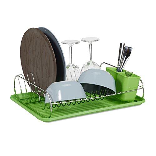 Relaxdays Egouttoir à vaisselle avec porte-couverts inox bac en plastique vert HxlxP: 11 x 42 x 33 cm, vert