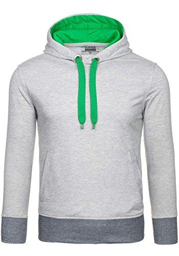 BOLF Herren Kapuzenpullover mit Kordelzug Bündchen Farbwahl Sweatshirt Hoodie 1A1 Grau