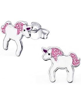 GH1a Pink Glitzer Einhorn Ohrstecker 925 Echt Silber Ohrringe Mädchen Kinder Pferd Emaille