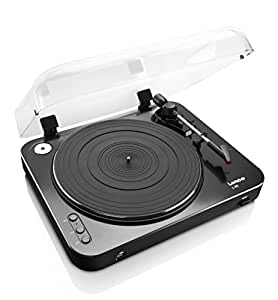 Lenco L-85 Black | 33 & 45 RPM Semi-Automatic Belt Drive USB Turntable for Vinyl with Integrated Stereo Pre-Amplifier and Moving Magnetic Cartridge (MMC) - Black Record Player