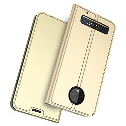 BasicStock Motorola Moto Z3 Hülle, Motorola Moto Z3 Ledertasche, Premium PU Leder Etui Schutzhülle Tasche mit Kartenslot und Magnetverschluss, Slim Flip Case Cover für Motorola Moto Z3(Golden)