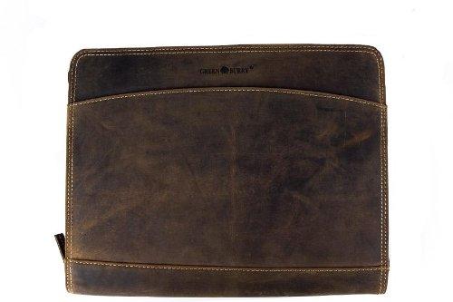GREENBURRY Vintage Manager Schreibmappe echt Leder A4 braun ..., Braun, 33 x 27 x 3 cm -