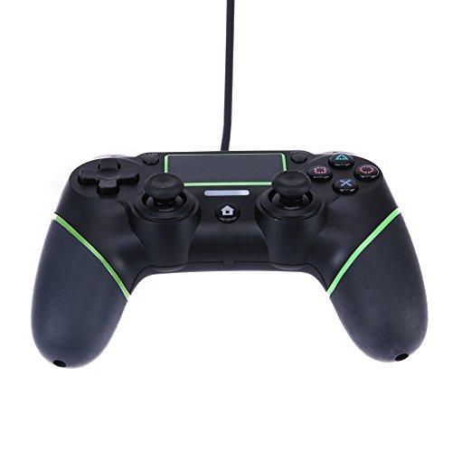 Mando de Juego Demiawaking Consola de Juegos con Cable para PS4 Múltiples Vibraciones Cable de 5.9 pies / 1.8m Multicolor (Verde)