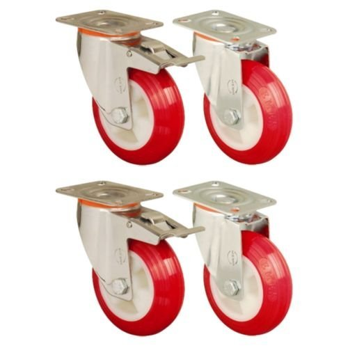 Set of 4 - 125mm Polyurethane Wheels Castors plate fitting Casters Heavy Duty- EMES Branded Test