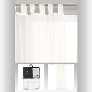 Lot de 2 rideaux voilage à pattes - Prêt à poser 140 x 240cm - Coloris BLANC
