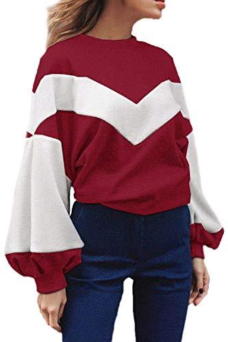 Emmay Frauen Casual Langarm Scoop Ärmel Hals Puff Fleece Sweatshirt Pullover Flickenteppich Party Stil Pulli Tops Herbst Winter Mädchen (Color : Rot, Size : S) -