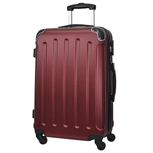 Reisekoffer ABS Hartschale Trolley L Reise Koffer Case Tasche Trolly (Braunrot)