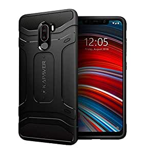 KAPAVER® Rugged Back Cover Case for Xiaomi Poco F1 MIL-STD 810G Officially Drop Tested Solid Black Shock Proof Slim Armor Patent Design (Only for Poco f1 Phone)