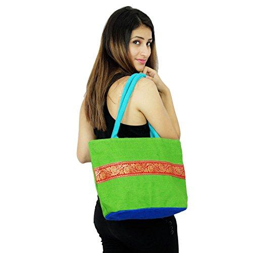 Handgemachte Frauen indischen Mode-Hand Baumwolle Jute Designer Taschen Grün Und Königsblau