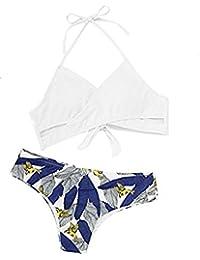 SOLYHUX Mujer Conjunto De Bikini De Estampado Hater con Aberturas Y  Cordones Laterales de baño Bikini bbbc982a62b