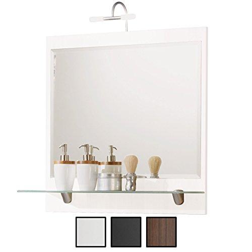 Halogen-spiegel (Spiegel Weiß mit Beleuchtung Halogen, Breite 70 cm, mit Ablage, 70x68x22 cm)