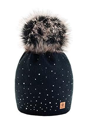 Wurm Winter Strickmütze Mütze Damen Kristalle Kiesel mit Große Pelz Bommel Pompon l SKI (Black)