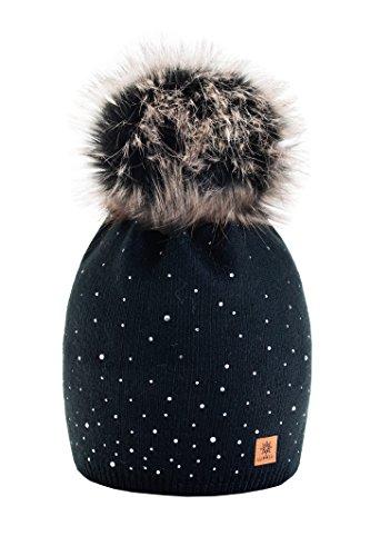 Wurm Winter Strickmütze Mütze Damen Kristalle Kiesel mit Große Pelz Bommel Pompon l SKI (Black) ( MFAZ Morefaz Ltd)
