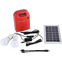 Kit de iluminación de energía solar, 12V portátil hogar iluminación exterior DC paneles solares DC sistema de generación de energía de carga con 4 en 1 ...
