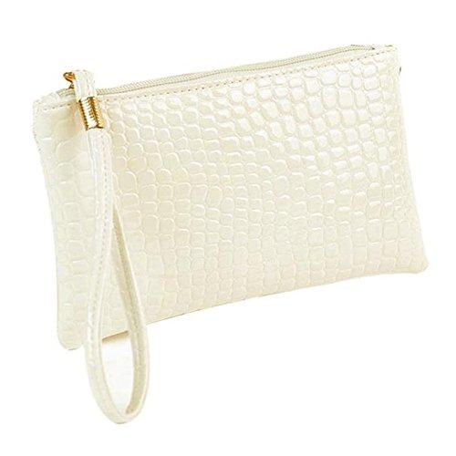 Internet Femmes Crocodile cuir embrayage sac à main sac porte-monnaie 19cm×11cm×1.5cm (Blanc)