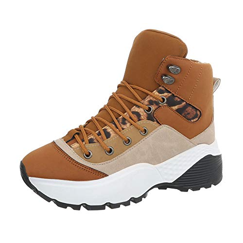 Ital-Design Damenschuhe Freizeitschuhe Sneakers high Synthetik Camel Gr. 36