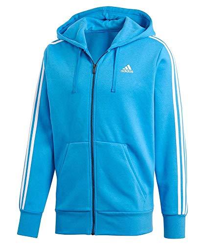 adidas Herren Essentials 3 Stripes Full Zip Kapuzen-Jacke Bright Blue/White M