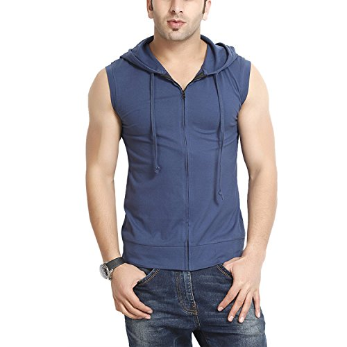 Gritstones Men's Hooded Cotton Zipper Jacket (GS60217JKTNBLU(1)_Blue_Medium)  available at amazon for Rs.399