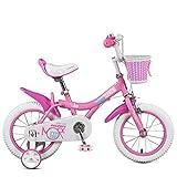 Yuany Kinderfahrrad, Mädchen 12/14/16/18 Zoll Fahrrad, Baby 2-6 Jahre altes Kind Pedal (Farbe: PINK, Größe: 100CM)