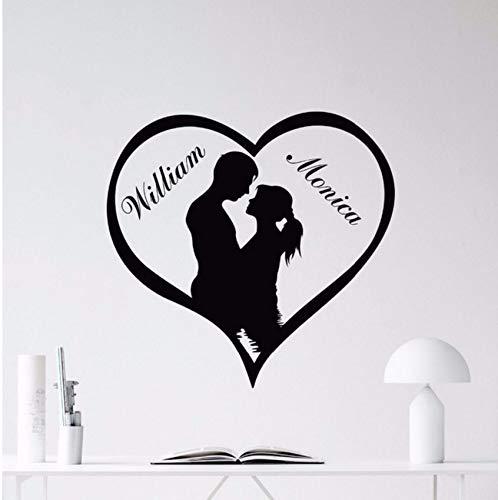 (Lvabc Benutzerdefinierte Namen Liebe Herz Wandtattoo Abnehmbare Liebevolle Personalisierte Vinyl Aufkleber Wandbild Paare Liebe Tapete Wohnkultur 44X42 Cm)