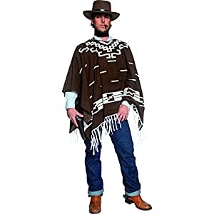 Smiffy's Adult Men's Authentic Western Wandering Gunman Costume, Poncho, Vest, Faux Shirt and Neckscarf, Western, Serious Fun, Size: M, 34291