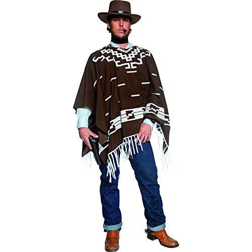 Authentische Western Kollektion Umherstreifender Räuber Kostüm mit Poncho Weste mit Hemdattrappe und Halstuch, Medium (Western Motto Party Kostüm Ideen)