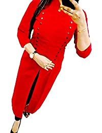 Harikrishnavilla Women's Cotton & Crush A-Line Kurti (Red Selphi Kurta ,Red Free Size)