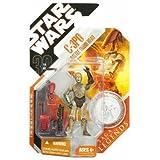Star Wars Saga Legends–C-3PO avec Droïde de combat figurine Tête de 9,5cm avec argent pièce de monnaie