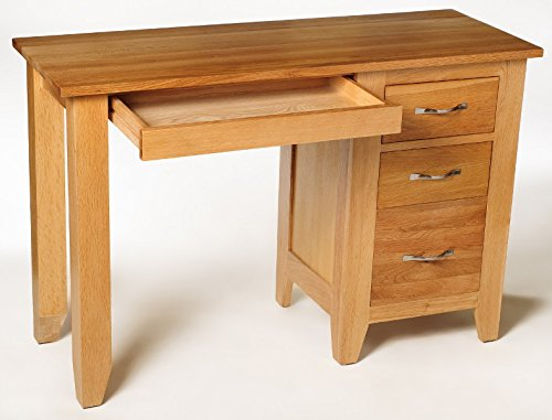 Camberley Oak Dressing Table with Drawers in Light Oak Finish | Solid Wood Make-up / Vanity / Computer Desk 3 Drawer