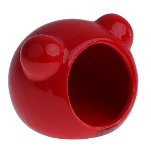 MagiDeal Keramik Hamsterhaus für Kleintiere Chinchilla Rennmaus Meerschweinchen Ratte Maus - Rot Größe 3