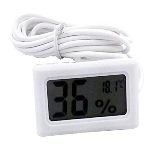 Auntwhale LCD Digitalthermometer 1 Stück Hygrometer-Sonde für Reptil Mini Embedded Thermometer Hygrometer Weiß -