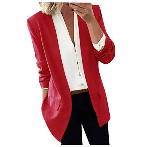 COZOCO Frauen Casual Office Blazer Solide Strickjacke Anzug Outwear Covered Pocket Coat Business Casual Bluse(Wein,32 DE/S CN)