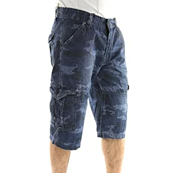 VD2880-BLCAMO - Pantacourt Camouflage pour Homme - GOV DENIM - VD2880 - Fashion - Bleu - Bleu, Fr46 - US36