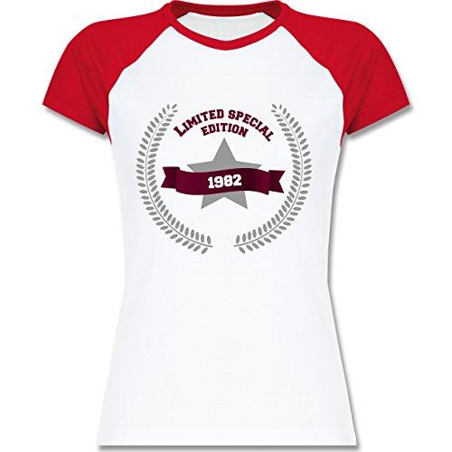 Geburtstag - 1982 Limited Special Edition - zweifarbiges Baseballshirt / Raglan T-Shirt für Damen Weiß/Rot