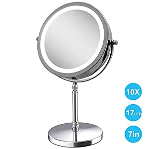 Amelar 360 Grad LED Kosmetikspiegel Beleuchtet 10x Vergrößerungsspiegel,7-Zoll 2 Seiten Makeup Spiegel mit Beleuchtung für Home Beauty Badezimmer