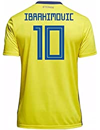 2018-19 Sweden Home Football Soccer T-Shirt Camiseta (Zlatan Ibrahimovic 10)